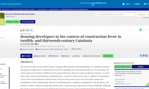 Housing developers in the context of construction fever in twelfth- and thirteenth-century Catalonia